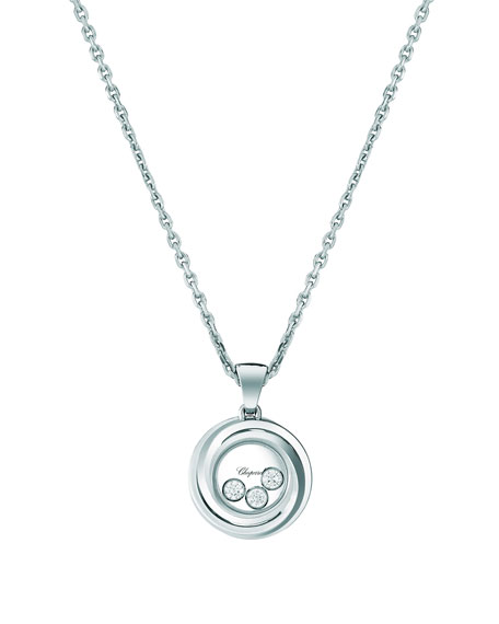 Chopard Happy Heart Emotion 18k White Gold 3-Diamond Pendant Necklace