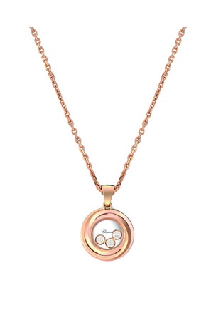 Chopard Happy Heart Emotion 18k Rose Gold 3-Diamond Pendant Necklace