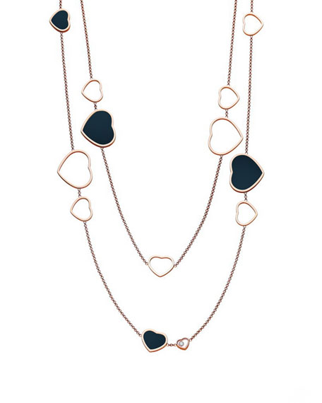 Chopard Happy Hearts 18k Rose Gold Onyx Station Necklace