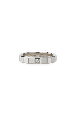 Chopard 18k White Gold 1-Diamond Ice Cube Ring, Size 56