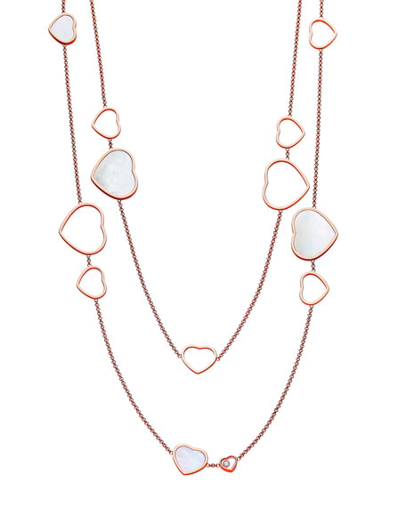 Chopard Happy Hearts 18k Rose Gold Mother-of-Pearl Station Necklace