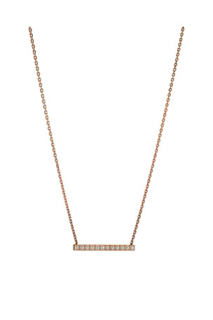 Chopard 18k Rose Gold Ice Cube Diamond Bar Necklace