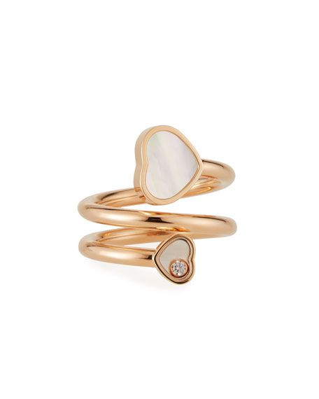 Chopard Happy Hearts Mother-of-Pearl 1-Diamond Coil Ring