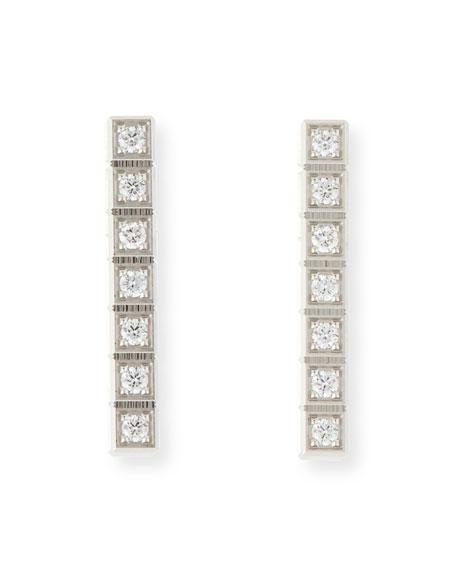 Chopard Ice Cube Full-Diamond Bar Earrings in 18K White Gold