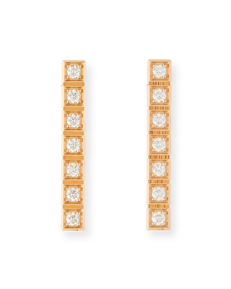 Chopard Ice Cube Full-Diamond Bar Earrings in 18K Rose Gold