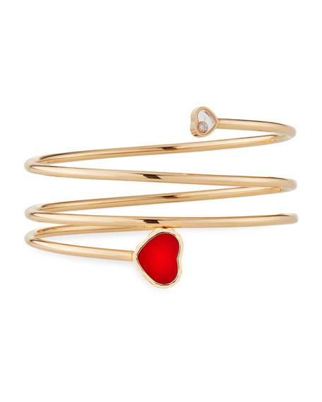 Chopard Happy Hearts Carnelian 1-Diamond Coil Bracelet