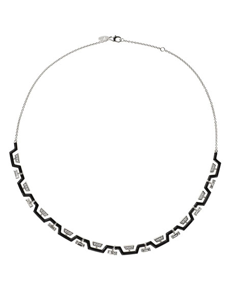 Nikos Koulis V 18k White Gold Black Enamel Diamond Zigzag Necklace
