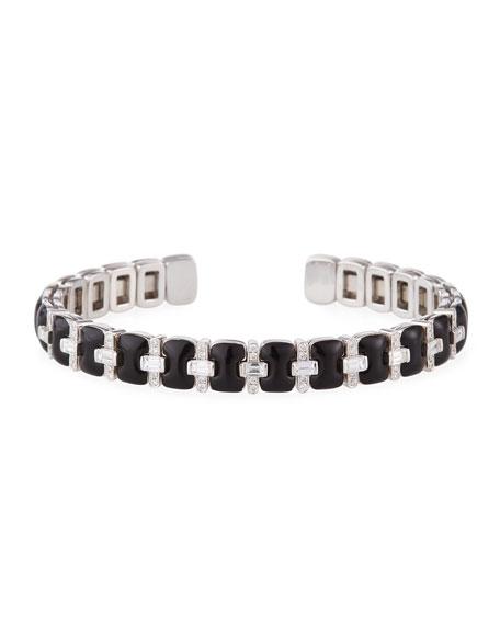 Nikos Koulis Oui 18k White Gold Alternating Black Enamel Diamond Bangle