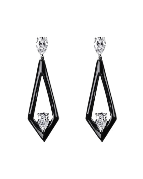 Nikos Koulis V 18k White Gold Black Enamel Diamond Triangular Drop Earrings