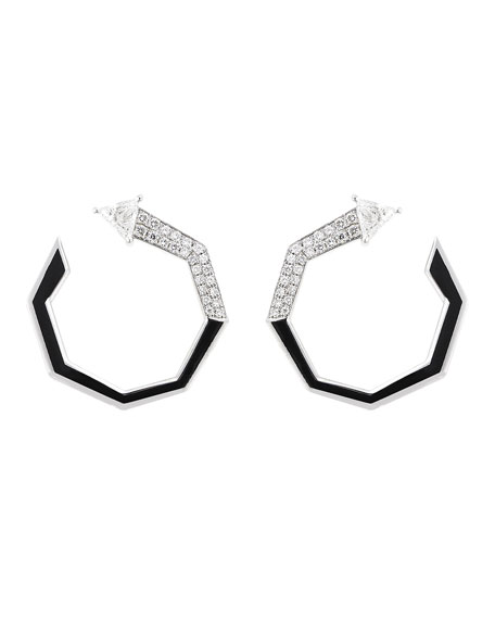Nikos Koulis V 18k White Gold Black Enamel Diamond Faceted Hoop Earrings
