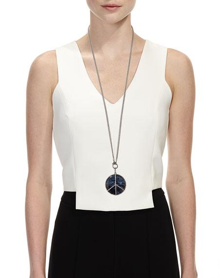 Sheryl Lowe Long Pietersite Diamond Peace Sign Necklace