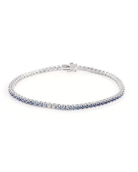 Stevie Wren 14k White Gold Blue Sapphire Ombre Tennis Bracelet