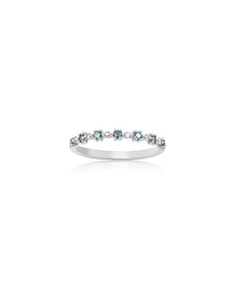 Stevie Wren 14k White Gold Blue Diamond Flowerette Ring, Size 7