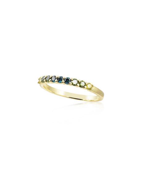 Stevie Wren 14k Cool-Hue Colored Diamond Ring, Size 7