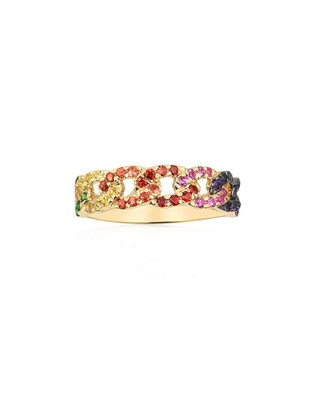 Stevie Wren 14k Rainbow Sapphire Curb-Link Chain Ring, Size 6.5