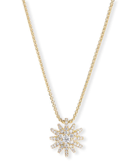 David Yurman Starburst Pendant 18k Diamond Pave Necklace