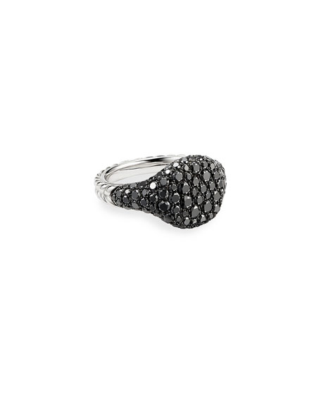 David Yurman Mini Chevron Pave Black Diamond Pinky Ring in 18k White Gold, Size 4