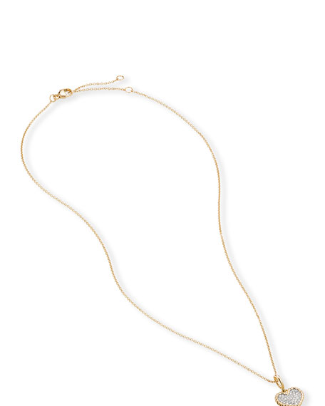 David Yurman Cable Collectibles Pave Plate Heart Charm Necklace in 18k Yellow Gold