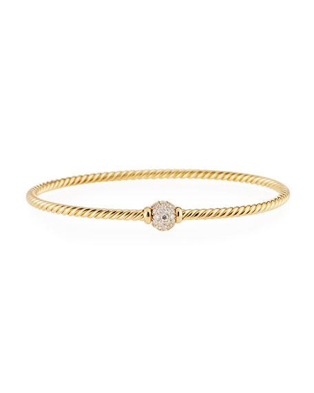 David Yurman Solari 18k Center Diamond Bracelet, Size M