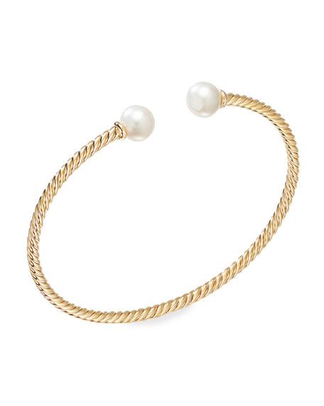 David Yurman Solari 18k Gold 7mm Pearl Bracelet, Size L