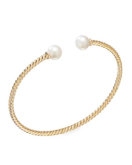 David Yurman Solari 18k Gold 7mm Pearl Bracelet, Size S