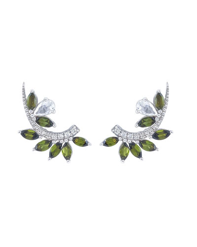 Lola 18k White Gold Green Tourmaline & Sapphire Earring Jackets