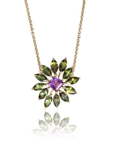 18k Amethyst & Green Tourmaline Pendant Necklace