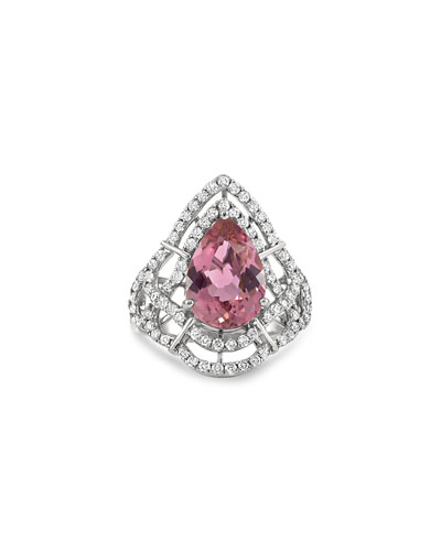 Claire 18k White Gold Pink Tourmaline Pear Ring  Size 6.5