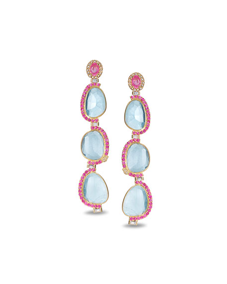 COOMI Affinity 20K 3-Aquamarine Sapphire-Trim Earrings
