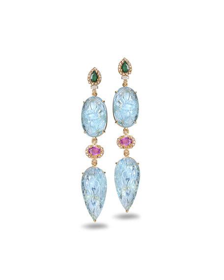 COOMI Affinity 20K Carved Aquamarine Drop Earrings