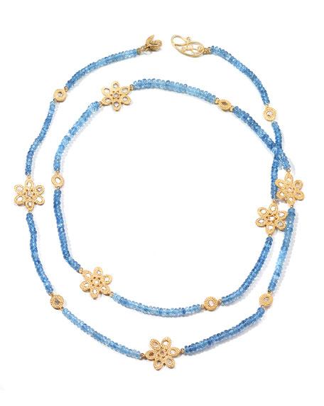 COOMI Affinity 20K Long Aquamarine Flower-Station Necklace