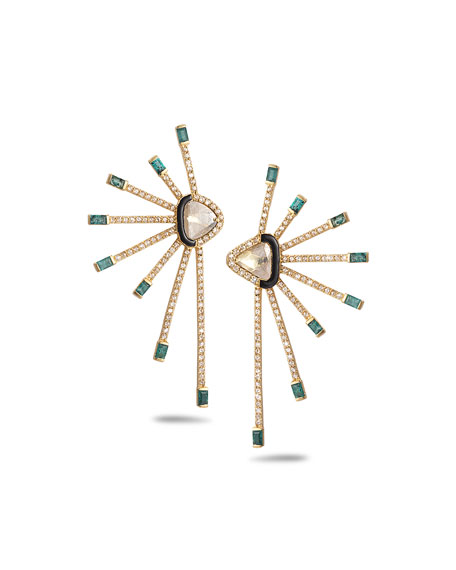 COOMI Affinity 20K Diamond Emerald-Ray Earrings