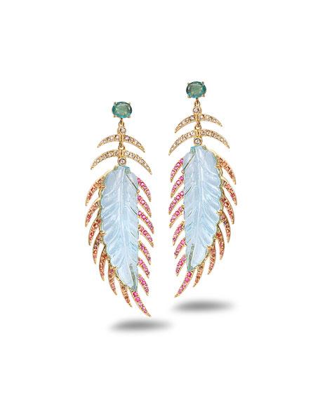 COOMI Affinity 20K Aquamarine Feather Earrings