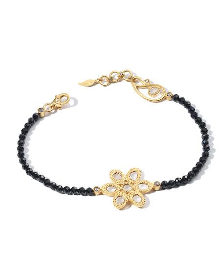 COOMI Affinity 20K Black Spinel Diamond-Flower Bracelet