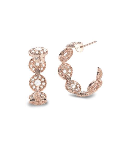 COOMI Eternity 18k Rose Gold Diamond Opera Hoop Earrings