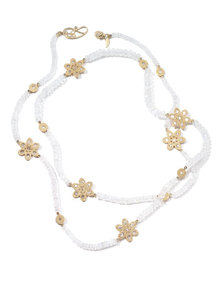 COOMI Affinity 20K Long Moonstone Diamond-Flower Necklace