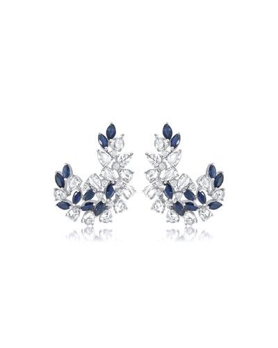 Alder 18k White Gold Sapphire/Diamond Earrings