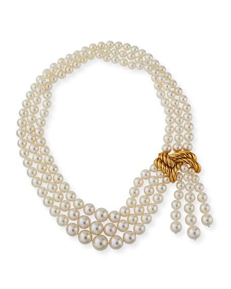 Verdura 18k Graduated Pearl 3-Row Necklace
