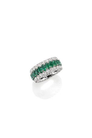 Picchiotti Xpandable 18k White Gold Emerald and Diamond Ring