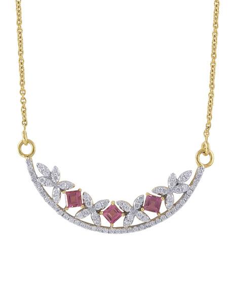 Ayva Jewelry Raina 18k Diamond Pink Tourmaline Crescent Necklace