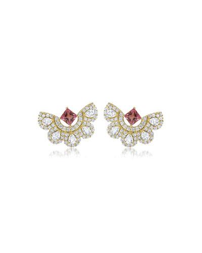 Lily 18k Sapphire-Post Diamond-Fan Earrings