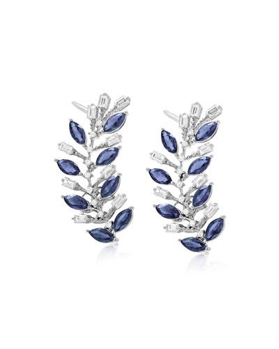 Rina 18k White Gold Blue Sapphire Ear Climbers w/ Diamonds