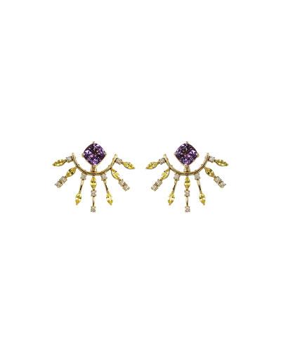 Riva 18k Amethyst Earring Jackets w/ Diamonds & Sapphires