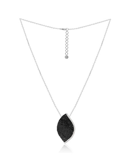 SUTRA 18K White Gold Lotus Leaf Necklace w/ Diamonds