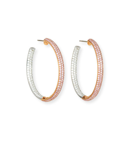 LJ West 18k Pink/White Diamond Hoop Earrings, 3.45tcw