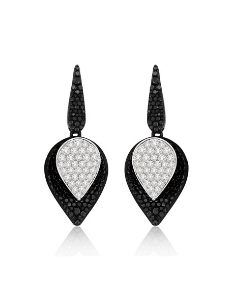 SUTRA 18K White Gold Lotus Small Leaf Drop Earrings w/ Black & White Diamonds