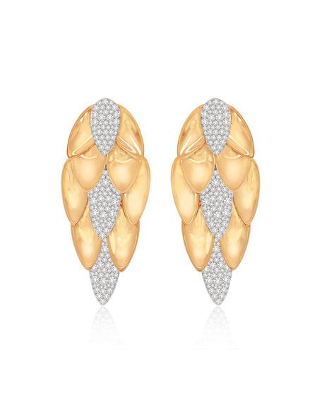 SUTRA 18K Rose Gold Pave Diamond Lotus Leaf Long Drop Earrings