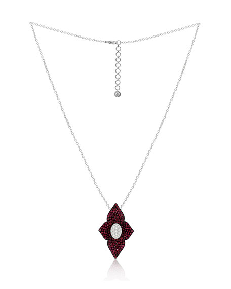 SUTRA 18k White Gold Double Lotus Diamond & Ruby Necklace