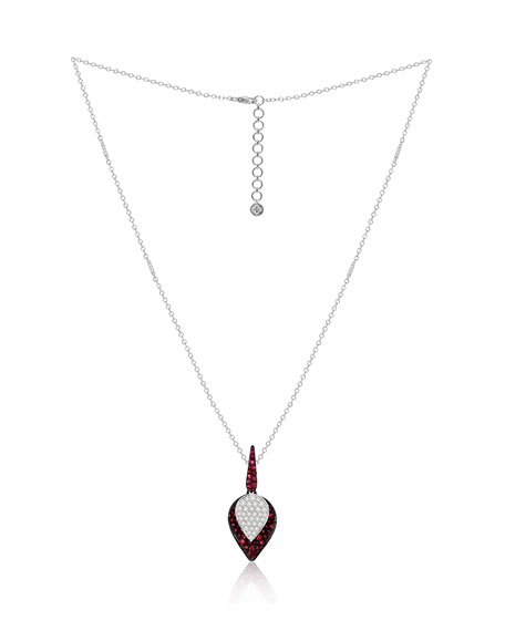 SUTRA 18K White Gold Ruby and Diamond Lotus Leaf Necklace