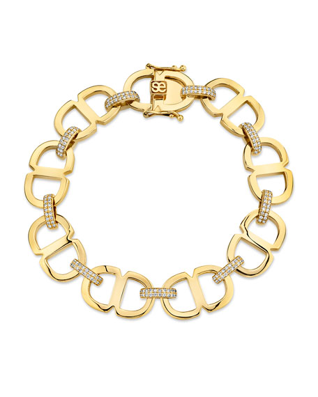 Sydney Evan 14k Diamond Large Love Chain-Link Bracelet